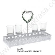 свещник със сърчице за чаени свещи