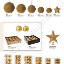 златни коледни топки и връх за елха